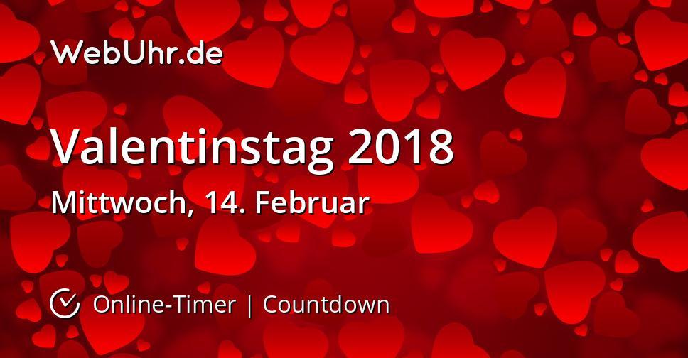 Wann ist Valentinstag 2018 Countdown-Timer