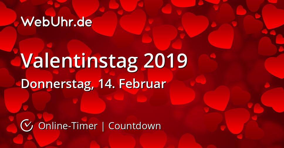 Wann ist Valentinstag 2019 Countdown-Timer